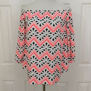 Charming Charlie's neon pink, black blouse size S